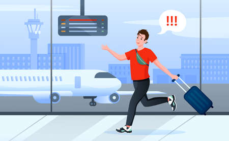 Late for plane, cartoon busy man tourist character with travel suitcase running through airport