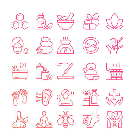 Ayurveda thin line icons set, outline vector illustration, symbols of healthy alternative medicine