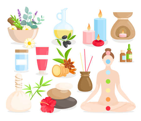 Ayurveda medicine cartoon set, ayurvedic collection with body care items, natural herbs, flowers. Ilustrace