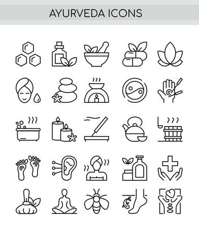 Ayurveda thin line icons set. Outline pictogram vector illustration, aroma therapy, ayurvedic collection with symbols of healthy alternative medicine, 向量圖像