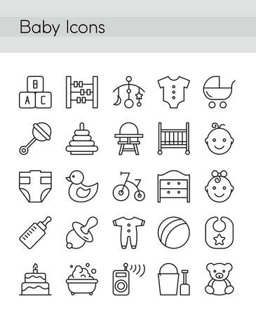 Vector illustration set of baby icons in thin line style. Web icons for social media, collection of infographic elements, motherhood and baby,