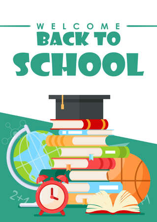 Back to school lettering vector illustration. Cartoon flat stationery, tools supplies and accessories for study in school, college or university. Education concept background for poster or web banner. Ilustrace