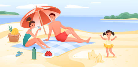 Happy family on sea beach vacation, cartoon flat vacationer tourists enjoy summer time on seaside