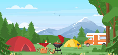 Summer camping vector illustration. Outdoor nature adventure, active tourism in summertime background. Cartoon flat tourist camp with picnic spot and tent among forest, mountain landscape on sunny day Ilustrace