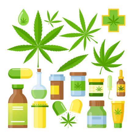 Cannabis medicine vector illustration. Cartoon flat medical marijuana set with hemp oil glass bottle, cannabis extracts in jar or plastic container, green natural cannabis leaf isolated on white.