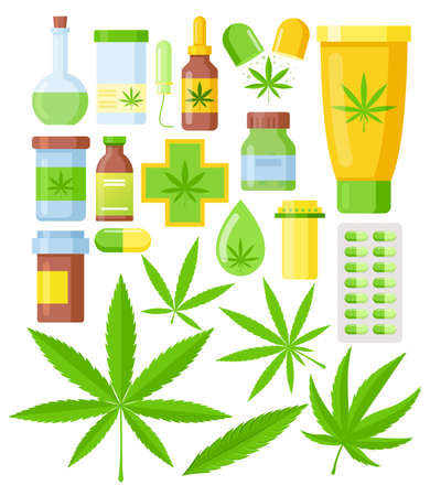 Vector illustration set of Cannabis medicine cartoon flat icons. medical marijuana set with hemp oil glass bottle, cannabis leaf isolated on white background.