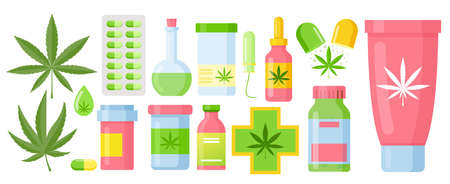Cannabis medicine cartoon marijuana set with hemp oil glass bottle, cannabis extracts and leaves