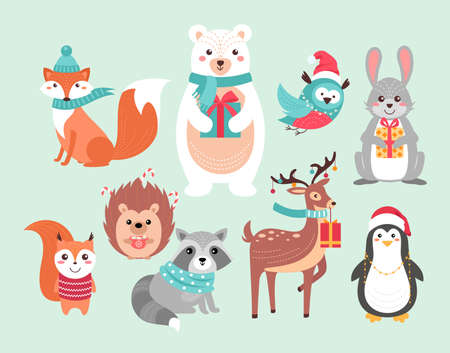Christmas cute woodland animals vector illustration set. Funny forest xmas animal characters holding gifts and hot drink mug, wearing scarf and red Santa Claus hat, Christmas hand drawn background