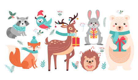 Christmas cute woodland animals set, forest xmas characters