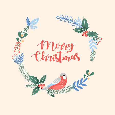 Merry Christmas circle greeting card with berries, xmas bird