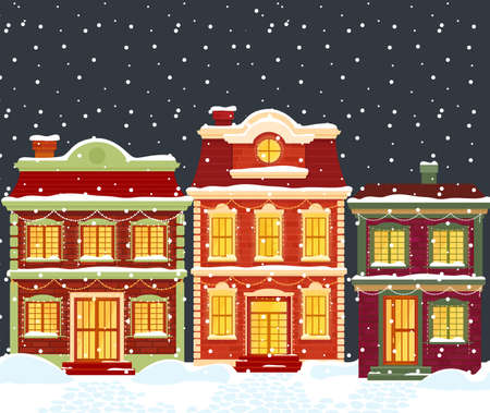 Christmas houses in cartoon winter city landscape under snow Standard-Bild - 158578898