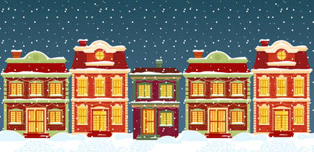 Christmas houses in cartoon winter city street under snow Ilustrace
