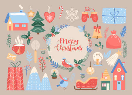 Merry Christmas, cute Xmas traditional decoration set Ilustrace