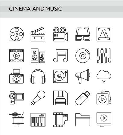 Vector illustration set of cinema and music in thin line style isolated on white background.