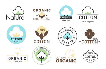 Vector illustration set of cotton logos, eco fabric, organic cotton logos collection isolated on white background. 向量圖像