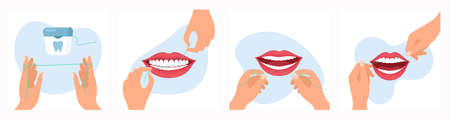 Vector illustration of using dental floss routine. Instruction how to use dental floss step by step, cartoon flat style. 向量圖像