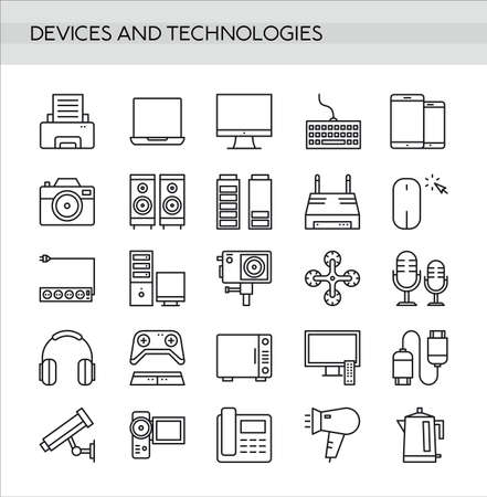 Devices icons set in thin line style isolated on white background. Modern digital technology icons collection. 向量圖像