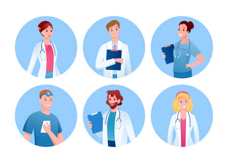 Doctor and nurse medicine characters round avatars set