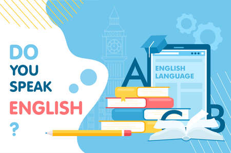 Learn English thin line vector illustration for website interface design, books for student learning language, school infographic education concept Standard-Bild - 158582927