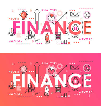 Finance word abstract thin line vector illustration, flat infographic webpage banner with financial analyzing symbols for business company Ilustrace