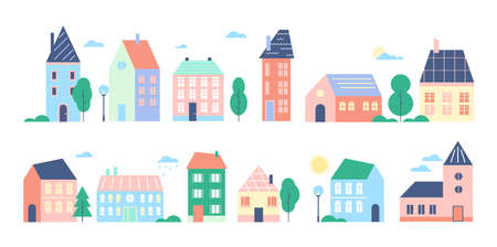 Town or city houses vector illustration set, cartoon flat cute colorful urban cityscape collection of modern retro townhouses or cottage