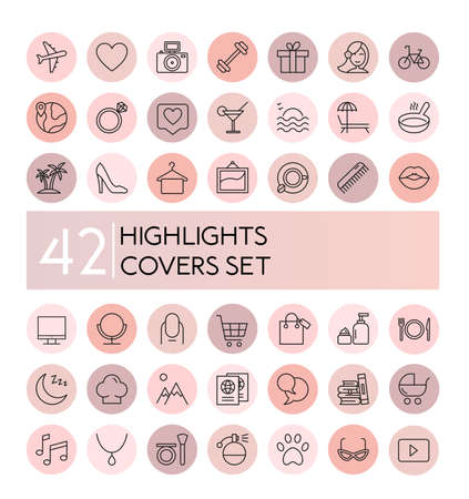 highlight vector illustration icons set. Social media collection of pink flat line covers for female account, blogger stories, lifestyle fashion elements, food and travel. Ilustrace