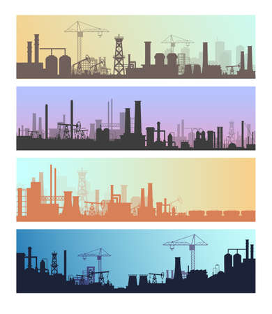 Manufacture industrial landscapes vector illustrations, cartoon flat urban refinery panorama skyline set, oil refinery industry silhouettes Ilustrace
