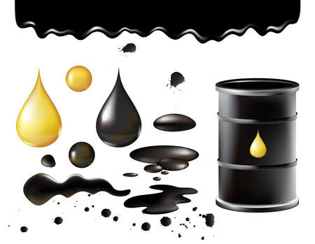 Petrol symbols vector illustration, oil black realistic black metal barrel with golden drop, petroleum industry objects isolated on white