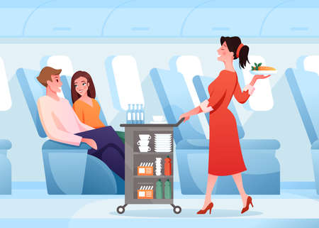 Hospitality service in airplane, cartoon stewardess working, serving passenger couple people