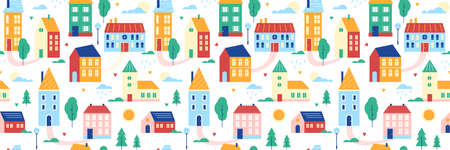 Houses seamless pattern vector illustration, cartoon flat cute summer cityscape with colorful buildings, traditional cottages, green trees 向量圖像