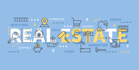 Real estate word cloud collage, business investment concept Ilustrace