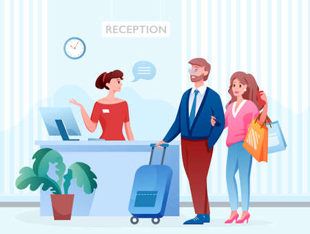 Hotel reception with people, receptionist registration desk Ilustrace