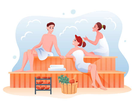 People relax in sauna, cartoon happy man woman characters sitting on wooden bench and relaxing 向量圖像