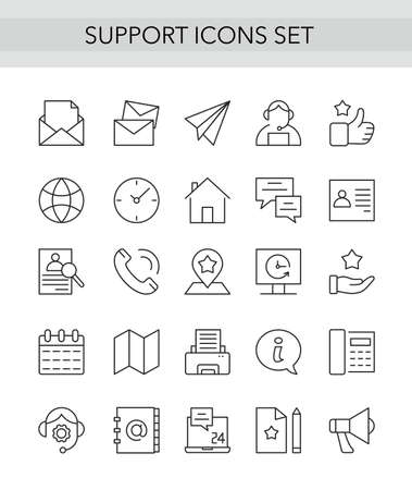 Support service thin line icons set, outline vector illustration collection with customers tech help