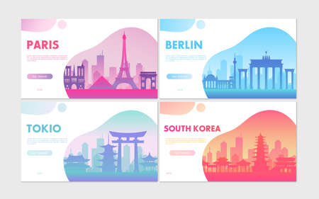 Travel tourism concepts set, cartoon cityscape with famous architecture buildings for tourists Ilustrace