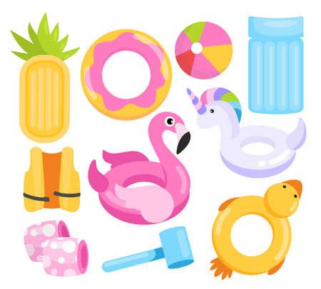 Toys water set, cartoon inflatable equipment collection Standard-Bild - 158578836