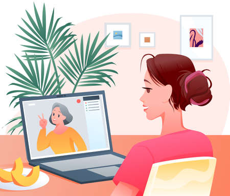 Video call, cartoon happy woman character making videocall chat conference with grandmother Ilustrace