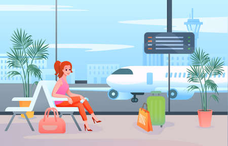 Wait in airport vector illustration. Cartoon flat woman tourist passenger character sitting with luggage travel bag in terminal lounge hall interior, waiting for departure airplane flight backg