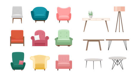 Chairs and tables vector illustration set. Cartoon flat design of furniture, modern cozy armchair in different color, furnished living room interior for home apartment or office isolated on white.