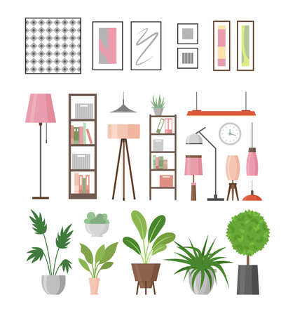 Vector illustration set of interior decor elements. Home plants in pots, lamps, shelves and pictures in frames for decor your living room or office. Collection of furniture in flat style. 向量圖像