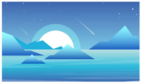Vector illustration of night landscape with lake and mountains in futuristic style. Beautiful moon and night sky landscape.