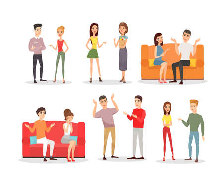 Vector illustration of angry people, screaming couples. Conflict and stress, sad characters in cartoon flat style. Angry people set on white background.