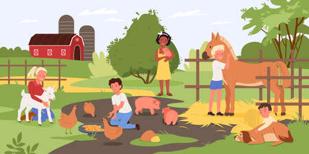 Children in contact zoo, happy kids and animals vector illustration. Cartoon boy girl child characters holding cute piggy, hugging dog, standing next to horse and feeding chickens with food background Vecteurs