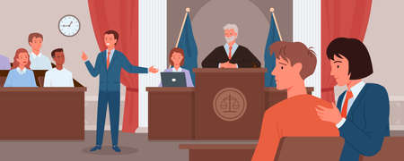 Court judgment, law justice concept vector illustration. Cartoon advocate lawyer or prosecutor character giving speech in front of judge, jury in courtroom, criminal defense public process background