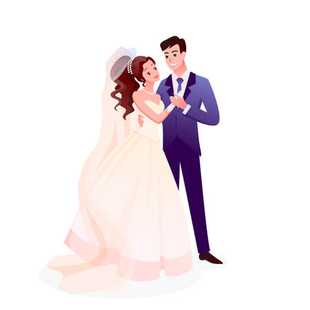 Couple wedding vector illustration. Cartoon just married happy man woman characters standing together, cute romantic bride and groom holding hands on wedding day party celebration isolated on white