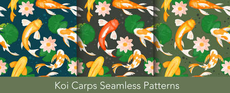Koi carp fishes seamless pattern vector illustration set. Cartoon traditional asian fortune symbol, koi carp fishes pisces swimming with tropical lotus water flowers and nature leaves background