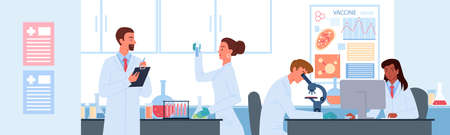 People work in vaccine development science laboratory vector illustration. Cartoon man woman scientist characters develop vaccine for , holding lab analysis in test tube flat background 向量圖像