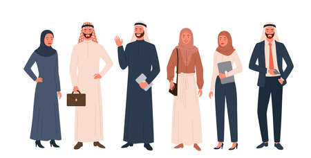 Arab people vector illustration set. Cartoon happy saudi woman man characters in modern and traditional ethnic muslim clothes standing together in row and smiling, arabic community isolated on white