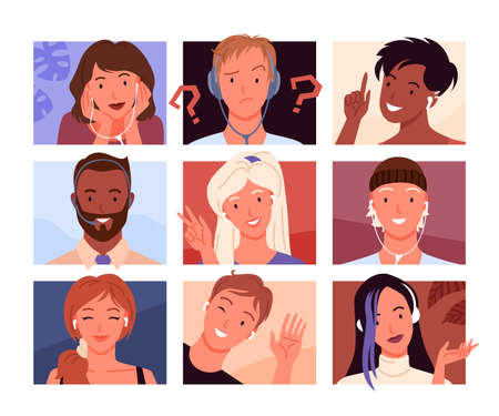 Avatars portrait profile vector illustration. Cartoon young woman and man heads in square shape collection, avatar diverse of happy girl or guy smiling characters, face of businessman with headphones 向量圖像