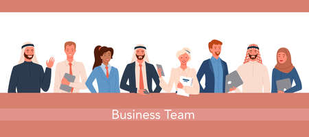Business office worker people team vector illustration set. Cartoon happy businessman and businesswoman group of characters standing together, smiling and waving hello, diverse teamwork background 向量圖像